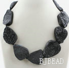 Big Style Irregular Shape Crystallized Black Agate Necklace ( The stone may not be completed)