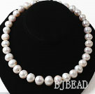 14-15mm Natural Big White Freshwater Pearl Graduated Beaded Necklace