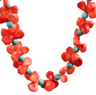 Fashion Style Red Coral and Turquoise Necklace with Moonlight Clasp