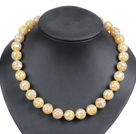 Charming Style Pretty 16mm Round Yellow Stitching Shell Beads Choker Necklace With Moonlight Clasp
