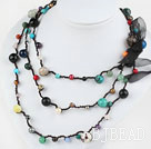 Long Style Assorted Multi Color Stone Thread Necklace ( can also be bracelet )