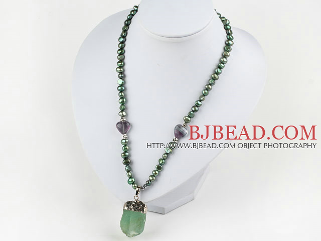 Green Series Green Freshwater Pearl Necklace with Big Fluorite Stone Pendant