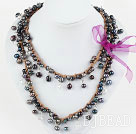 Long Style Black Freshwater Pearl and Clear Crystal Necklace with Brown Cord ( Can also be Bracelet )