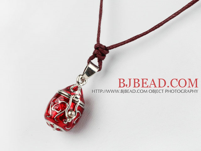 Fashion and Simple Style Red Wishbox Pendant Necklace with Brown Thread