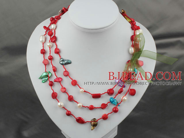 Long Style Assorted Red Coral and Pearl Thread Necklace ( can also be bracelet )