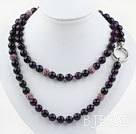 Long Style 10mm Round Faceted Purple Agate Beaded Necklace with Purple Rhinestone Beads