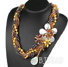 Elegant and Big Style Brown Series Pearl Crystal and White Shell Flower Party Necklace