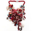 Elegant and Big Style Red Coral and Multi Color Shell Flower Party Necklace under $ 40