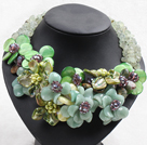 Estilo elegante y Big Jade Serpentina y Lemon Stone y ágata y Shell Pearl y Prehnita Flower Party Collar