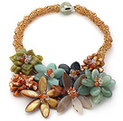 Elegant and Big Style Brown Crystal and Agate and Serpentine Jade Flower Party Necklace under $ 40