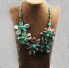 Elegant and Big Style Indian Agate and Aventurine and Abalone Shell Flower Party Necklace