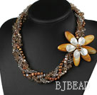 Multi Strands Brown Series Pearl Crystal and Shell Flower Necklace