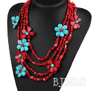 Multi Strands Red Series Red Coral and Turquoise Flower Party Necklace
