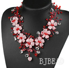 Elegant and Big Style Pink Series Rose Quartz and Red and Clear Crystal Party Necklace