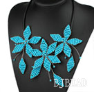 Elegant Style Blue Turquoise Leaf Shape Flower Party Necklace