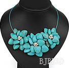 White Freshwater Pearl and Turquoise Flower Party Necklace