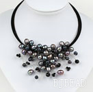 Black Pearl and Black Crystal Flower Choker Necklace