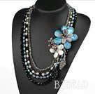 Big Style Multi Strands Black Pearl Crystal and Shell Flower Party Necklace
