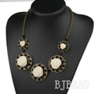 Vintage Style Black Crystal and Acrylic Flower Necklace with Bronze Chain under $ 40