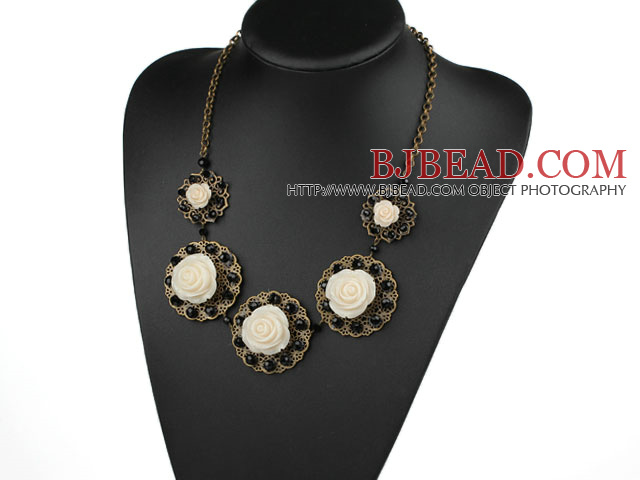 Vintage Style Black Crystal and Acrylic Flower Necklace with Bronze Chain