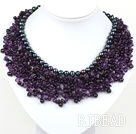 Elegant and Big Style Amethyst and Black Pearl Woven Party Bib Necklace