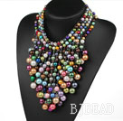 Multi Layer Assorted Multi Color Shell Beads Party Necklace under $ 40