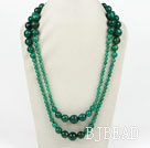 Long Style Faceted Round Green Agate Graduataed Necklace ( No Clasp )