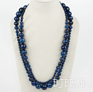 Long Style Faceted Round Blue Agate Graduataed Necklace ( No Clasp )