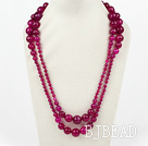 Long Style Faceted Round Rose Pink Agate Graduataed Necklace ( No Clasp )