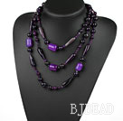 Long Style Assorted Multi Shape Faceted Purple Agate Necklace