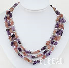 Pink Purple Series Three Strands Pearl and Amethyst and Strawberry Quartz Necklace