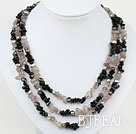 Gray Black Series Three Strands Pearl and Black Gray Agate Necklace