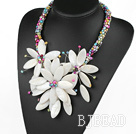 Elegant and Big Style Multi Color Pearl and White Shell Flower Party Necklace under $ 40
