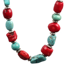 Chunky Style Irregular Shape Coral and Turquoise Stone Necklace