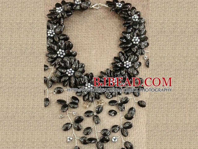 Gorgeous Black Series Natural Black Pearl Shell Flower Statement Party Necklace