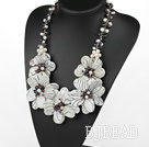 Elegant and Big Style Black and White Pearl and Garnet and Shell Flower Party Necklace