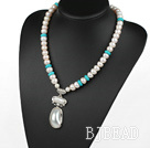 Natural White Freshwater Pearl and Turquoise Necklace with Nautilus Pendant