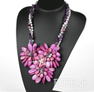 Elegant and Big Style Purple Pearl Crystal and Agate and Shell Flower Party Necklace under $ 40
