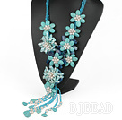 Elegant and Big Style Green Color Teeth Shape Pearl and Turquoise and Blue Agate Flower Party Necklace