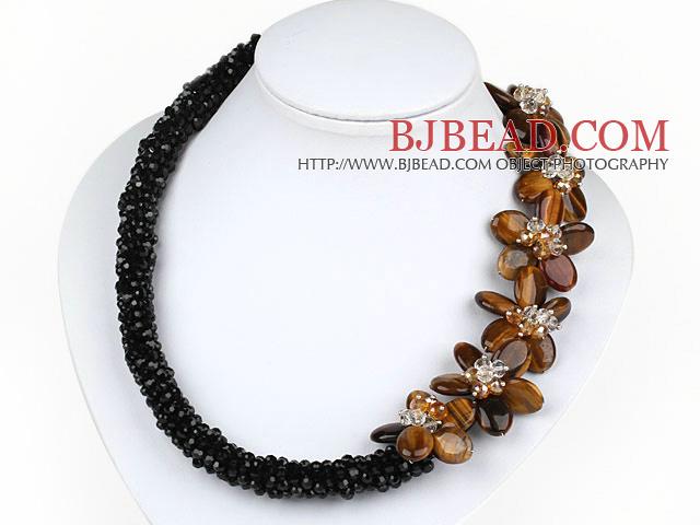 8a85a62ae947 Elegante Negro Estilo cristal y collar de ojo de tigre Flor