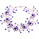 Elegant Style Purple Pearl Crystal and Shell Flower Necklace under $ 40