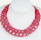 Fashion Style Clear with Colorful Crystal Woven Bib Necklace with Hot Pink Velvet Ribbon