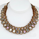 Fashion Style Clear with Colorful Crystal Woven Bib Necklace with Coffee Color Velvet Ribbon
