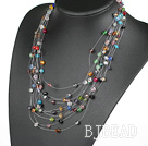 Fancy Style Multi Layer Assorted Multi Color Crystal Necklace