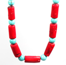 Turquoise and Cylinder Shape Coral Choker Necklace with Moonlight Clasp