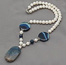 White Freshwater Pearl Necklace with Blue Crystallized Agate Pendant ( The stone maybe not incompelete )
