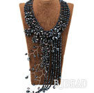 Elegant and Big Style Black Freshwater Pearl Crystal Tassel Party Necklace under $ 40