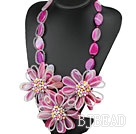 Elegant and Big Style Pink Rose Agate and Multi Color Pearl Flower Party Necklace