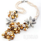 Elegant and Big Style Natural White Freshwater Pearl and Yellow Shell Flower Party Necklace