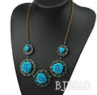 Vintage Style Blue Acrylic Flower Shape Necklace with Bronze Chain under $ 40